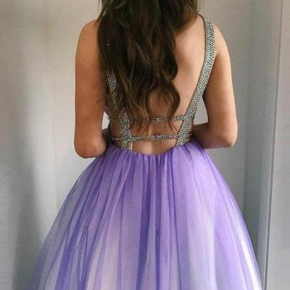 Sexy Backless Prom Dress,Tulle Prom..