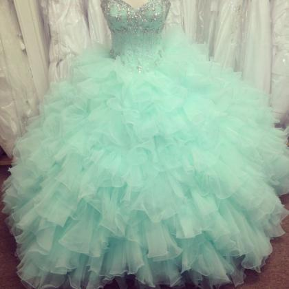 Puffy Mint Green Ball Gown Prom Dre..