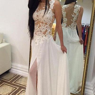 Charming Prom Dress,White Lace Prom..