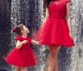 Two Pieces Red Tulle..