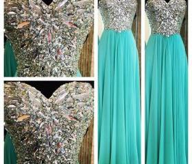 Beading Prom Dress 2015, Long Evening Dresses, Formal Dresses ,Floor Length Long Prom Dress, Prom Dress With Rhinestone