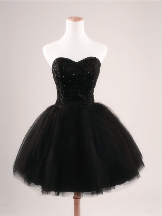 Black Short Prom Dress Strapless Ball Gown Tulle Party Dress ...