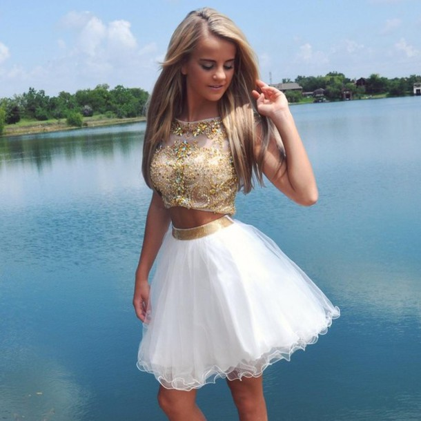 2016 High Quality Two Pieces Short Graduation Dress,Charming Short Cocktail Dress/Homecoming Dress,Crystals Short Prom Dress