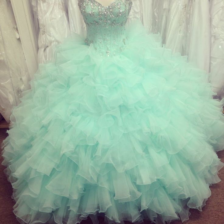 Puffy Mint Green Ball Gown Prom Dresses Organza Beaded Ruffled Quinceanera Dresses, Wedding Dress, Prom Gowns, Formal Gowns, Sweet 16