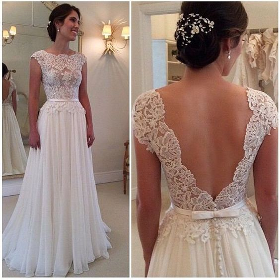 Vintage Lace Wedding Dress,Sexy Backless Wedding Dress,Round Neckline Wedding Dresses, A-line Wedding Dresses,Wedding Dress 2016,Wedding Gowns,Charming Prom Dress,