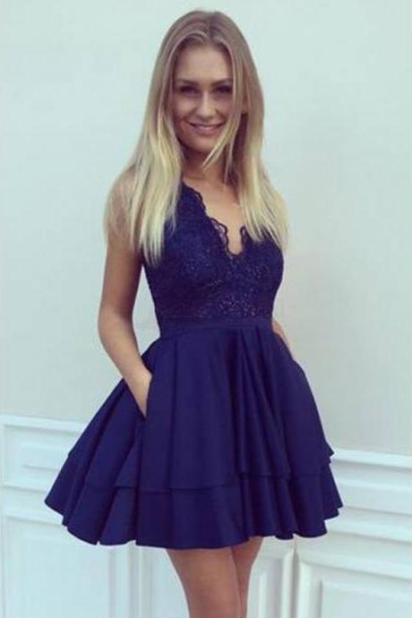 Short Homecoming Dress,Lace Aqqliques Party Dress,Homecoming Dress,Short Prom Dress,Satin Homecoming Dress,Custom Made Dress On Sale,Graduation Dress,