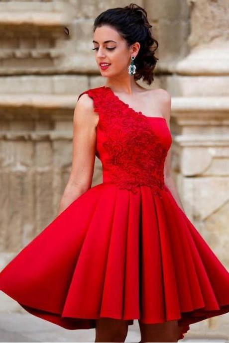 Red Mini Short A Line Prom Dresses,Sexy Short Homecoming Dress,Red Lace Homecoming Dress,New Fashion Short Prom Dress,Red Party Dress,One Shoulder Sweet 16 Dresses,Satin Graduation Party Dresses,