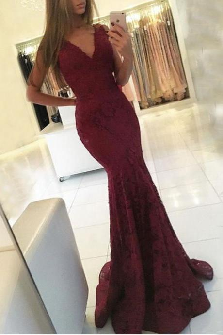 Sleeveless Mermaid Newest Lace Sweep-Train V-neck Prom Dress,Sexy V neck Prom Dress,Modest Prom Dress,Fashion Party Dress,Women Dress On Sale,2017 Prom Party Dress,