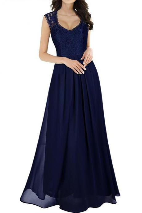 Women's Casual Deep- V Neck Sleeveless Vintage Maxi Dress,See Through Prom Dress,Long Prom Dress,Modest Prom Party Dress,Lace Chiffon Prom Dress,Charming Evening Dress,