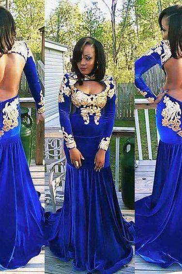 Royal Blue Evening Dress, Charming Prom Dress,Sexy Backless Prom Dress,Long Evening Party Dress,Open Back Prom Dress, Mermaid Velvet Prom Dress,Long Sleeve Women Dress,