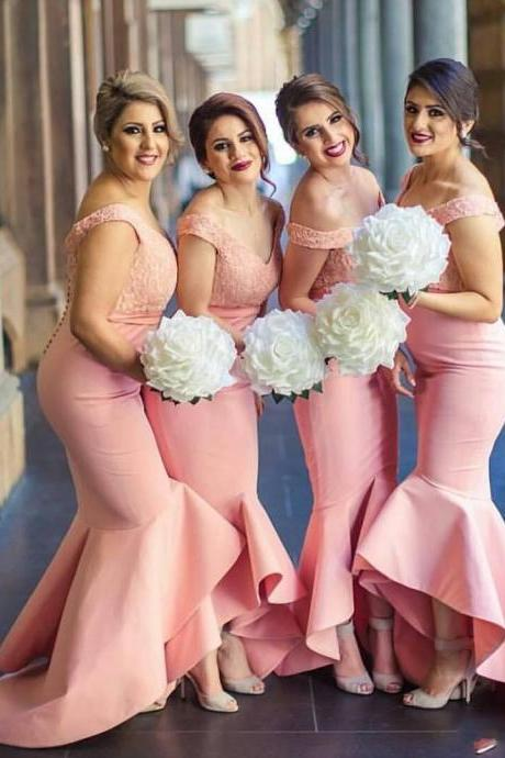 Backless Lace Bodice High Low Dubai Ruffle Skirt Maid of the Honor Dresses,Pink Bridesmaid Dresses, Wedding Party Dresses,2017 New Arabic Sweetheart Off Shoulders Bridesmaid Dresses, Bridesmaid Dresses,