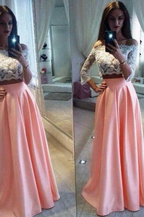 Elegant Lace Two Pieces Formal Dress Cheap A-Line Off The Shoulder Pink Prom Dress,Long Party Dress,2017 Prom Dress,