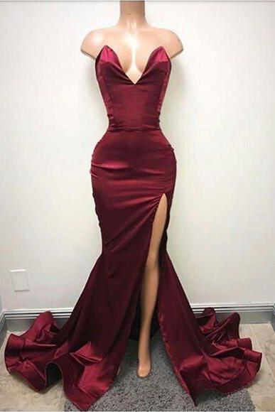 Sweep Train Sleeveless Evening Dress Burgundy Front Split Sexy Sweetheart Prom Dress,Sexy Party Dress,Formal Dress,