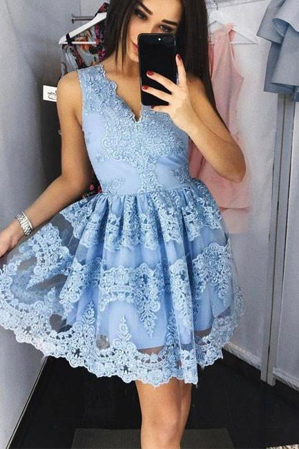 Charming Prom Dress,Cute Lace Short Prom Dress,Blue Lace Short Prom Dress,Lace Party Dress, Lace Short Evening Dresses,Lace Short Homeing Dress,