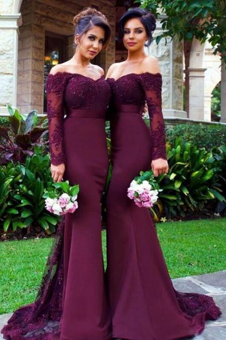 Burgundy Lace Off-The-Shoulder Long Sleeves Floor Length Mermaid Bridesmaid Dress