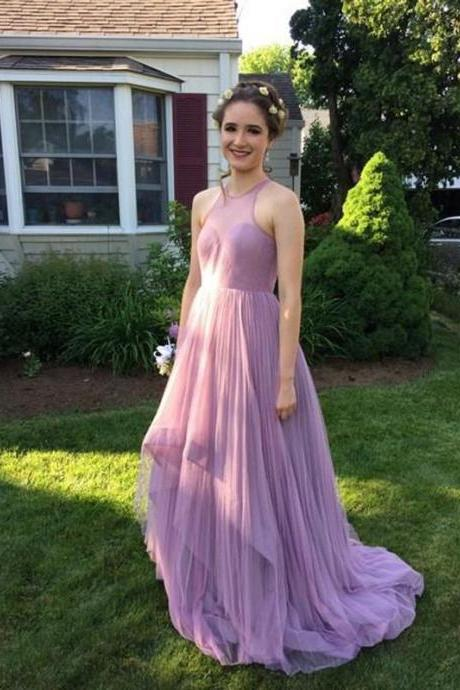 Simple Prom Dress,Tulle Prom Dress,Prom Dress Long,Halter Prom Dresses,A-line Sleeveless Tulle Long A-line Prom Dresses,Wedding Party Dress,Wedding&Events Dress,