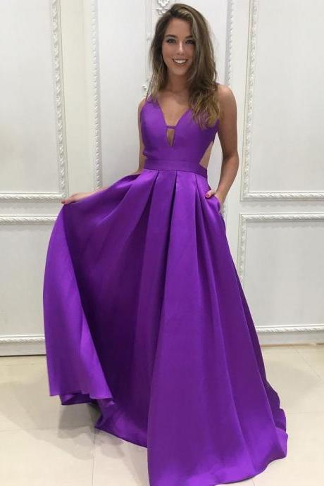 New Style Prom Dress,Simple Prom Dress Long,Backless Prom Dress,Sexy Party Dress,Wedding Party Dress,Purple Prom Dress,A-line Prom Dresses, Charming Evening Dress,