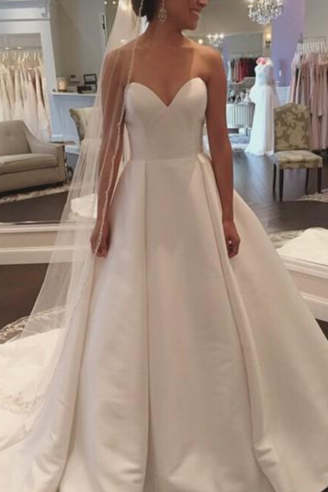 White Sweetheart Satin Wedding Dress,Wedding Dresses,Simple and Claasic Wedding Dresses,Bridal Dress,Formal Dress,Wedding Party Dress,Wedding&Events Dress,Custom Made Wedding Dress,Wedding Dress 2018