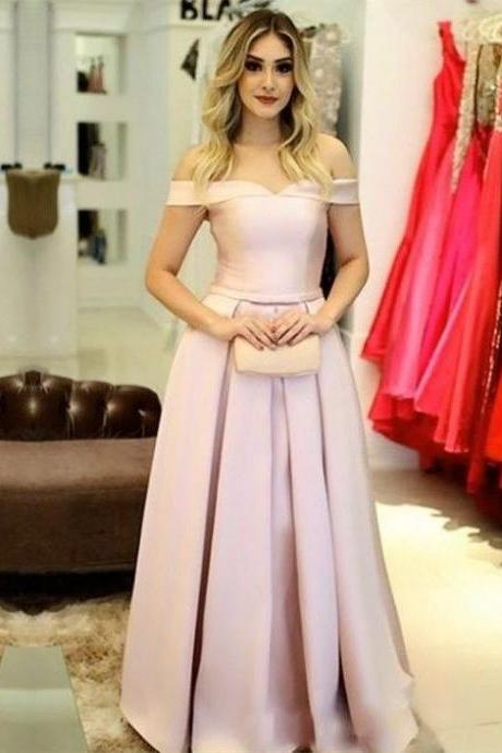 Elegant Prom Dress,Beautiful Prom Dress,Sexy Prom Dress 2018,Pink Off Shoulder Prom Dress,Satin Prom Dress,Party Dress,Formal Dress,