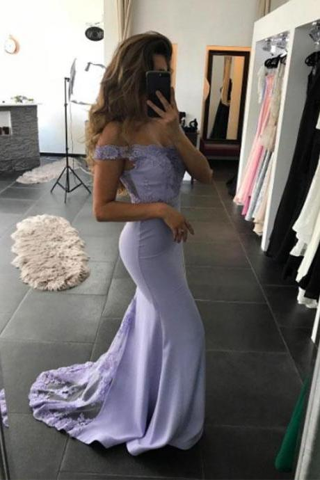 Charming Prom Dress,Sexy Mermaid Prom Dress,Prom Dress,Light Purple Lace Prom Dress,Long Prom Dress,