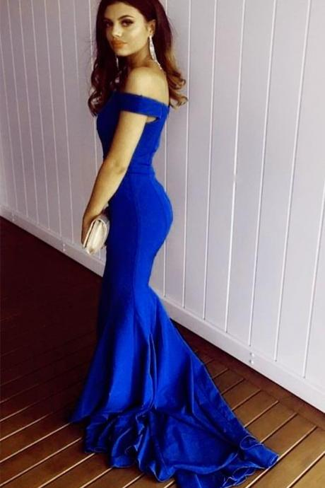 royal blue Prom Dress,off the shoulder Prom Dress,Mermaid Prom Dress,Sexy Evening Dress,