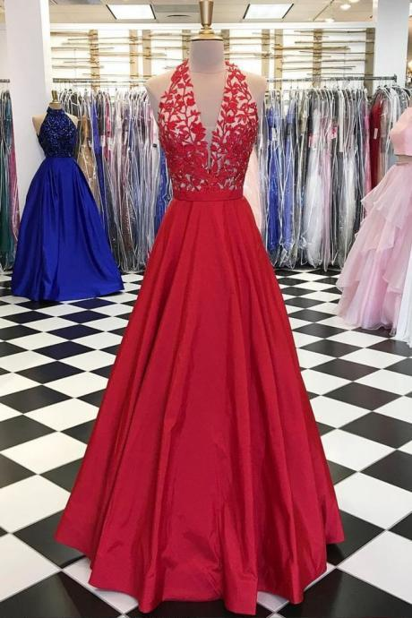 Red V Neck Prom Dress,Lace Appliques Prom Dress,Sexy Party Dress,Long Prom Dress,Noble Prom Dress,Modest Prom Dress,Graduation Prom Dress,