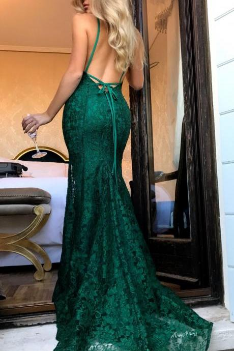 Spaghetti Straps Formal Evening Dresses,Emerald Green Lace Mermaid Long Prom Dresses with Low Cut Back,Prom Dress Long ,Prom Dress 2018,
