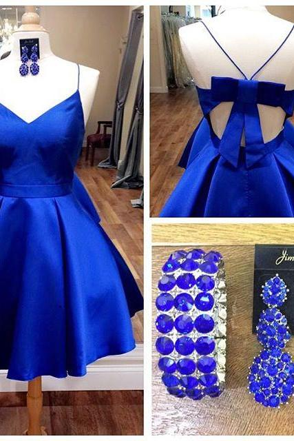 Sweetheart Short Prom Party Dresses,Royal Blue Homecoming Dress with Ribbon,Short Prom Dress,Formal Dress,Short Homecoming Dress,