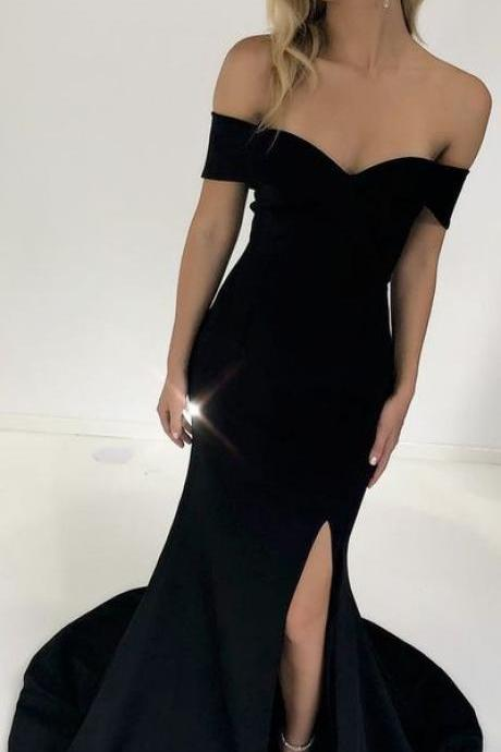 black mermaid long prom dress with side slit, prom dress formal evening dress party dress,