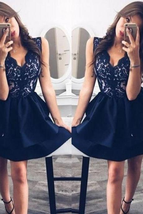 Homecoming Dresses ,Navy Blue Deep V Neck Homecoming Dresses,Straps Satin Cocktail Dresses with Lace, Sexy Party Dresses,Short Homecoming Dresses