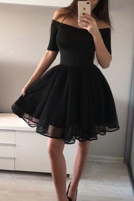 Homecoming Dresses,Half Sleeve Off the Shoulder Cocktail Dresses,A line Black Homecoming Dresses,Short Homecoming Dresses,Sexy Party Dress,Short Prom Dresses
