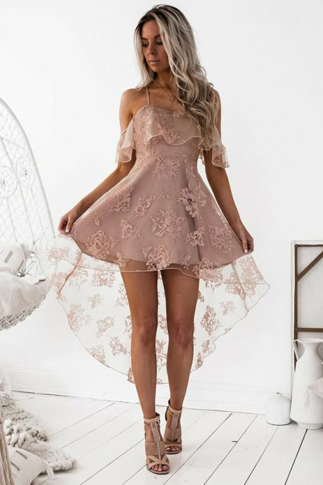 Homecoming Dresses,Off the Shoulder Sleeveless Lace Homecoming Dress,Spaghetti Straps Criss Cross School Dress,High Low Blush Pink Short Prom Dresses,