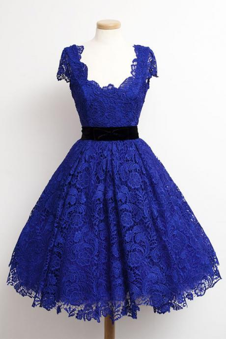 Royal Blue Cap Sleeves Homecoming Dresses ,Short Formal Dresses, Lace Evening Dresses /Homecoming Dress/Party Dress/Cocktail Dress/Graduation Dress,