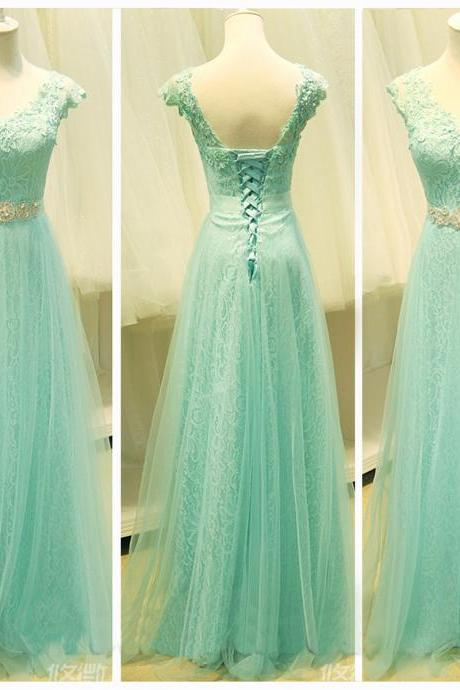 Sweetheart A Line Mint Lace Tulle Cap Sleeves Graduation Dresses, Beaded Belt V Neck Evening Prom Gown Dress ,Custom Made Lace Back Up Girl Graduation Dress