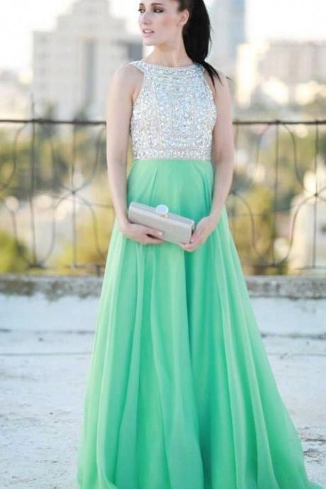 New Style See Through Open Back Green Chiffon Beaded Long Prom Dress,A Line Backless Sexy Evening Dresses Prom,Formal Women Dresses