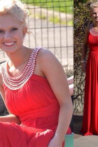 Custom Made A line Chiffon Long Red Prom Dress With Beading,Long Red Evening Dress,Dress For Prom,Dress 2015,Beading Prom Gowns,