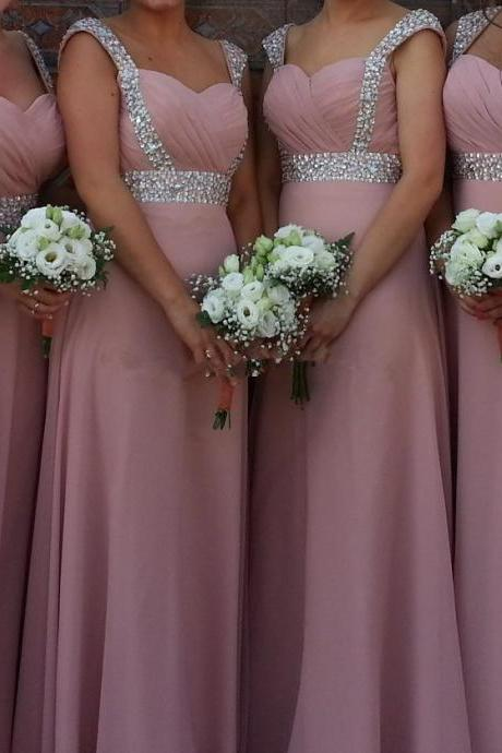 Long Bridesmaid Dress,A line Bridesmaid Dress,Beading Bridesmaid Dress,Charming Bridesmaid Dress,Bridal Dress For Weddings, Handmade Prom Dress,Chiffon Bridesmaid Dress