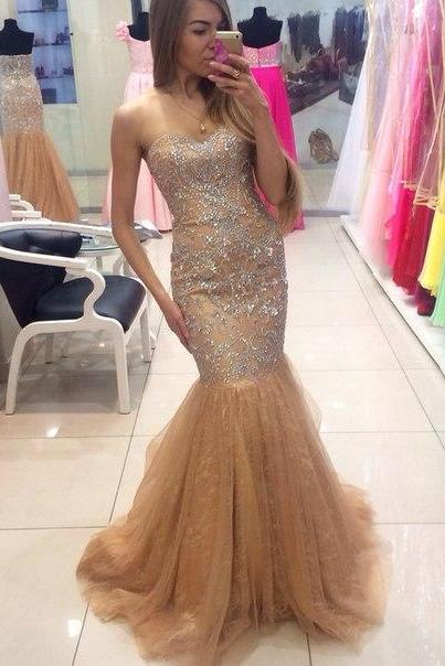 High Quality Prom Dress, Handmade Prom Dress,Beading Mermaid Prom Dress,Tulle Mermaid Party Dress,Sweetheart Prom Dress,Custom Made Prom Dress,Charming Evening Dress,