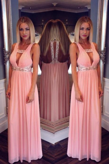High Quality Prom Dress,Hot Sale Beading Prom Dress,Charming Prom Gowns, A-Line Prom Dress ,Sexy Backless Prom Gows, Beading Evening Dress, Elegant Prom Dress,V-Neck Formal Dress,