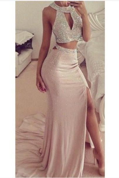 Hot Sale Prom Dress,Charming Prom Gowns,Two Pieces Prom Dress ,Beading Prom Gows, Mermaid Evening Dress,Chiffon Prom Dress,2 Pieces Formal Dress,