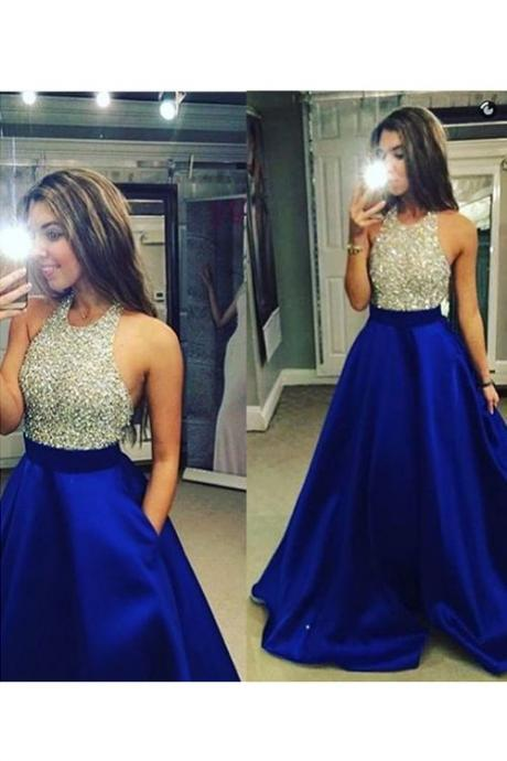 Hot Sale Prom Dress,Charming Prom Gowns,Beading Prom Dress ,A-line Prom Dress,Chiffon Prom Gows, Halter Evening Dress,Satin Prom Dress,Backless Formal Dress,