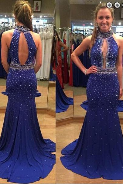 Hot Sale Prom Dress,Charming Prom Gowns,Beading Prom Dress ,High-Neck Prom Dress,Satin Prom Gows, Sxey Evening Dress,Mermaid Prom Dress,Backless Formal Dress,