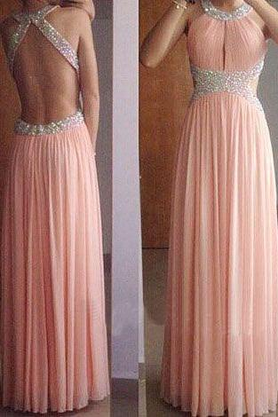 Hot Sale Prom Dress,Charming Prom Gowns,Beading Prom Dress ,O-Neck Prom Dress,Chiffon Prom Gows, Sxey Evening Dress,A line Prom Dress,Backless Formal Dress,