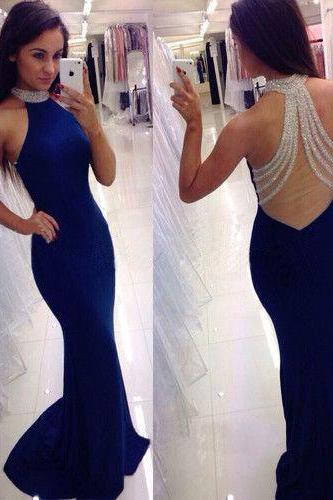 2016 Sexy Backless Halter Chiffon Prom Dress,Charming Prom Dress,Beading Prom Dress ,Long Backless Prom Dress,Beading Halter Graduation Dress,Blue Evening Dress,Dress For Prom,Formal Dress 2016