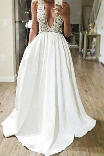 Hot Sale Prom Dress,Sexy Prom Dress,A line Prom Dress,V-neck Long Evening Dress,White Lace Evening Dress,Women Dress