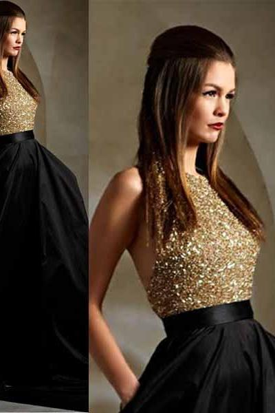 2016 Hot Sale Prom Dresses,Sequined Beading Prom Dresses,Sparkle A-line Prom Dresses,Satin Prom Dresses, O neck Ball Gown