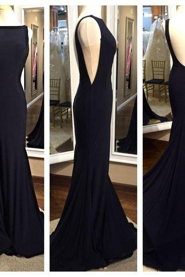 Mermaid Prom Dress,Backless Prom Dress,Black Prom Dress,Long Prom Dress,Sexy Prom Dress,Chiffon Prom Dress,Black Evening Dress