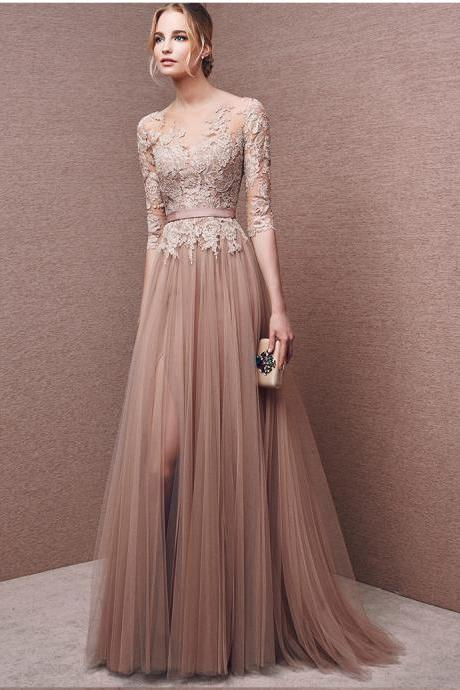 Champagne A line Prom Dresses,Lace Sheer Sleeve Tulle Prom Dresses,Charming Prom Dress,Tulle Evening Dress,Long Formal Prom Party Dress,Hot Sale Evening Dress 2016