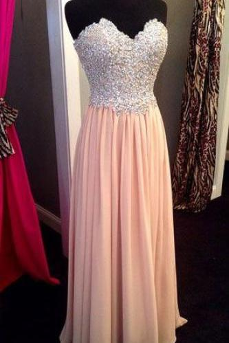 Charming Pink Prom Dress,Sequin Beaded Prom Dress,Chiffon Long Prom Dress,Pink Formal Prom Dress,Simple Long Evening Dress,A line Graduation Dress,Party Women Dress,