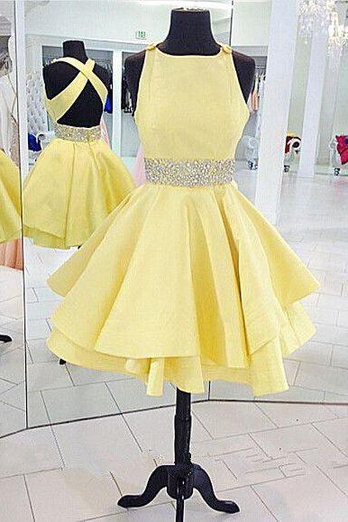 New Arrival Beading Homecoming Dress,Short A-Line Prom Dress,Short Graduation Dress,Women Party Dress,Satin Homecoming Dress,